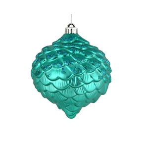 "Clara Pinecone Ornament 6"" Set of 6 Teal"