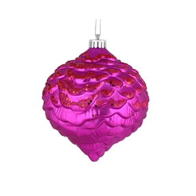 "Clara Pinecone Ornament 6"" Set of 6 Fuchsia"