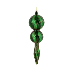 "Crystal Glitter Finial 16.5"" Green"
