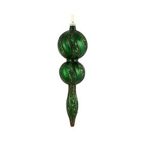 """Crystal Glitter Finial 16.5"""" Emerald"""