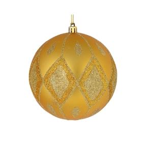 "Gloria Ball Ornament 4"" Set of 4 Gold"