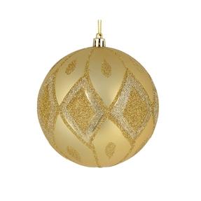 "Gloria Ball Ornament 4"" Set of 4 Champagne"