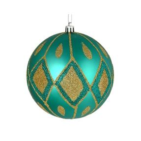 "Gloria Ball Ornament 4"" Set of 4 Teal"