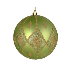 "Gloria Ball Ornament 4"" Set of 4 Celadon"
