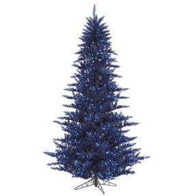 7.5' Navy Blue Fir Full w/ LED Lights
