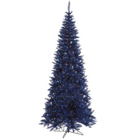 9' Navy Blue Fir Slim w/ LED Lights