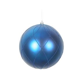 """Noelle Ball Ornament 6"""" Set of 3 Blue"""