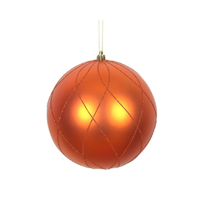 "Noelle Ball Ornament 8"" Set of 2 Burnished Orange"