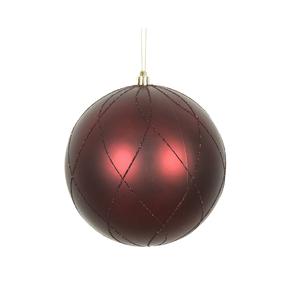 """Noelle Ball Ornament 8"""" Set of 2 Burgundy"""
