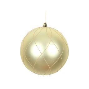 "Noelle Ball Ornament 6"" Set of 3 Champagne"