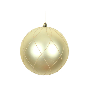 "Noelle Ball Ornament 8"" Set of 2 Champagne"