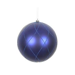 """Noelle Ball Ornament 6"""" Set of 3 Cobalt"""