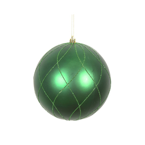 "Noelle Ball Ornament 6"" Set of 3 Emerald"