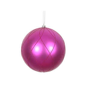 "Noelle Ball Ornament 8"" Set of 2 Fuchsia"