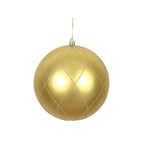 "Noelle Ball Ornament 8"" Set of 2 Gold"