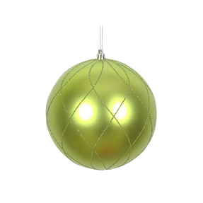 """Noelle Ball Ornament 6"""" Set of 3 Lime"""