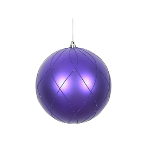 "Noelle Ball Ornament 6"" Set of 3 Purple"