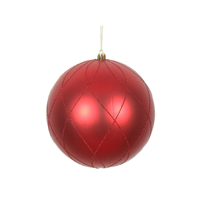 "Noelle Ball Ornament 6"" Set of 3 Red"