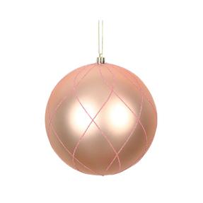 """Noelle Ball Ornament 6"""" Set of 3 Rose Gold"""