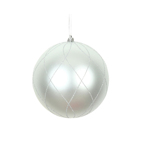 "Noelle Ball Ornament 8"" Set of 2 Silver"