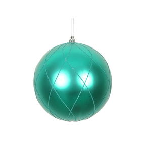 "Noelle Ball Ornament 4.75"" Set of 4 Teal"