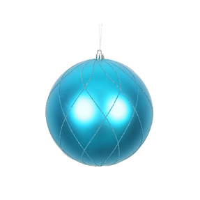 "Noelle Ball Ornament 6"" Set of 3 Turquoise"