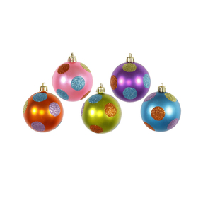 "Polka Dot Candy Ball Ornaments 2.4"" Set of 15 Asst."