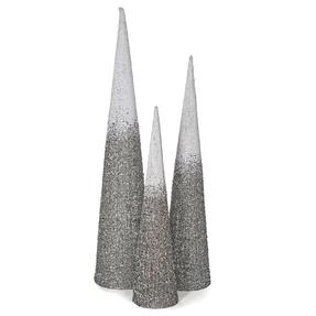 5' Ombre Glitter Cone Tree Silver