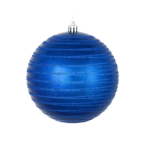 "Orb Ball Ornament 4"" Set of 4 Blue"