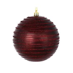 "Orb Ball Ornament 4"" Set of 4 Burgundy"