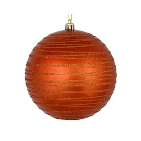 """Orb Ball Ornament 6"""" Set of 3 Burnished Orange"""