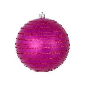 "Orb Ball Ornament 4"" Set of 4 Fuchsia"