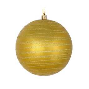 """Orb Ball Ornament 4"""" Set of 4 Gold"""