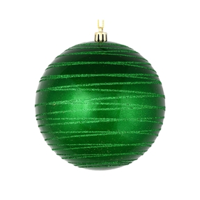 "Orb Ball Ornament 4"" Set of 4 Green"