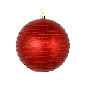 "Orb Ball Ornament 4"" Set of 4 Red"