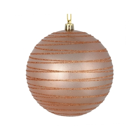 "Orb Ball Ornament 4"" Set of 4 Rose Gold"