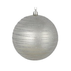 """Orb Ball Ornament 6"""" Set of 3 Silver"""