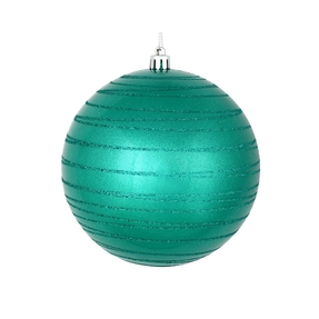 "Orb Ball Ornament 4"" Set of 4 Teal"