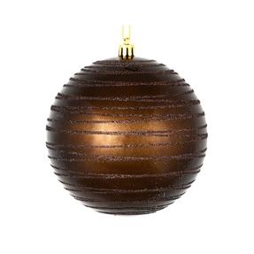 "Orb Ball Ornament 4"" Set of 4 Truffle"