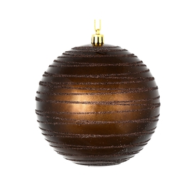 "Orb Ball Ornament 6"" Set of 3 Truffle"