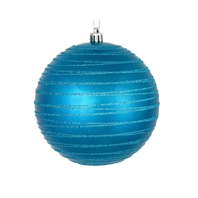 "Orb Ball Ornament 4"" Set of 4 Turquoise"