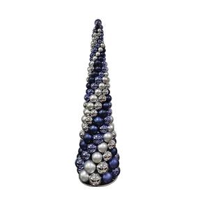 3' Ornament Cone Tree Blue/Silver