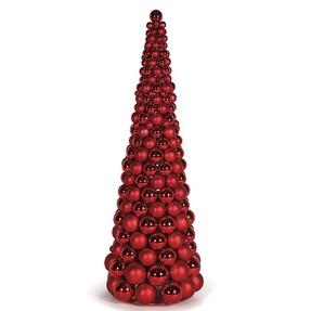 3' Ornament Cone Tree Red