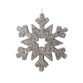"Outdoor Glitter Snowflake 12"" Pewter"