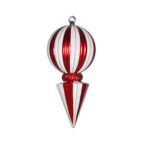 "Peppermint Ball Finial 12"" Set of 2 Red/White"