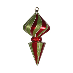 "Peppermint Onion Finial 12"" Set of 2 Red/Green"