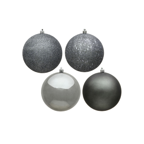 """Pewter Ball Ornaments 6"""" Assorted Finish Set of 4"""