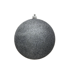 "Pewter Ball Ornaments 4"" Glitter Set of 6"