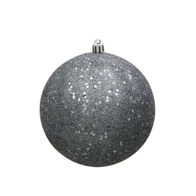 "Pewter Ball Ornaments 8"" Sequin Set of 4"