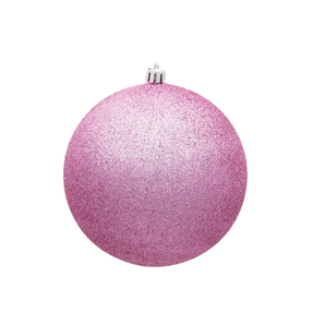 "Pink Ball Ornaments 4"" Glitter Set of 6"